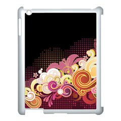 Flower Back Leaf Polka Dots Black Pink Apple Ipad 3/4 Case (white) by Mariart