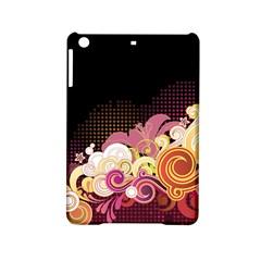 Flower Back Leaf Polka Dots Black Pink Ipad Mini 2 Hardshell Cases by Mariart