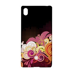 Flower Back Leaf Polka Dots Black Pink Sony Xperia Z3+ by Mariart