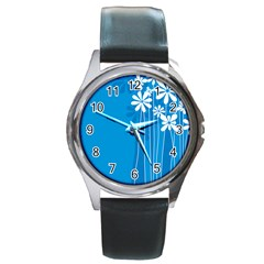 Flower Blue Round Metal Watch by Mariart