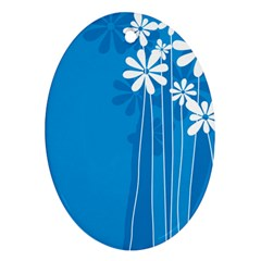 Flower Blue Ornament (oval) by Mariart