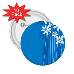 Flower Blue 2 25  Buttons (10 Pack)  by Mariart