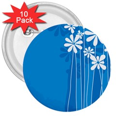Flower Blue 3  Buttons (10 Pack)  by Mariart