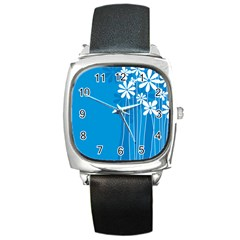 Flower Blue Square Metal Watch by Mariart