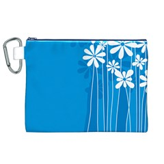 Flower Blue Canvas Cosmetic Bag (xl)