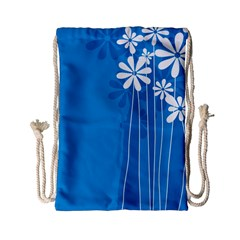 Flower Blue Drawstring Bag (small) by Mariart
