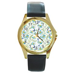 Flower Blue Butterfly Leaf Green Round Gold Metal Watch by Mariart