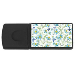 Flower Blue Butterfly Leaf Green Rectangular Usb Flash Drive by Mariart