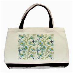 Flower Blue Butterfly Leaf Green Basic Tote Bag by Mariart