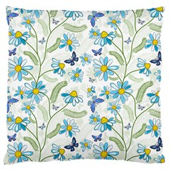 Flower Blue Butterfly Leaf Green Large Cushion Case (two Sides) by Mariart