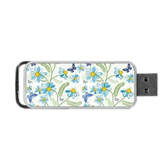 Flower Blue Butterfly Leaf Green Portable Usb Flash (two Sides) by Mariart
