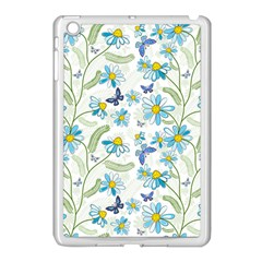 Flower Blue Butterfly Leaf Green Apple Ipad Mini Case (white)