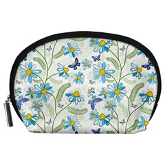 Flower Blue Butterfly Leaf Green Accessory Pouches (large)  by Mariart