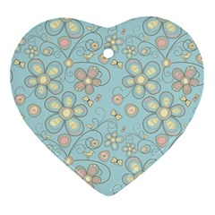 Flower Blue Butterfly Bird Yellow Floral Sexy Ornament (heart) by Mariart