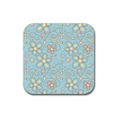 Flower Blue Butterfly Bird Yellow Floral Sexy Rubber Square Coaster (4 Pack)  by Mariart