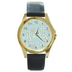 Flower Blue Butterfly Bird Yellow Floral Sexy Round Gold Metal Watch by Mariart