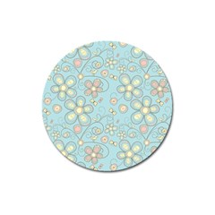 Flower Blue Butterfly Bird Yellow Floral Sexy Magnet 3  (round) by Mariart