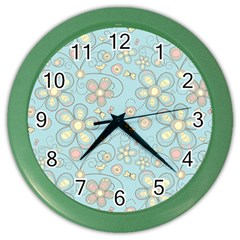 Flower Blue Butterfly Bird Yellow Floral Sexy Color Wall Clocks by Mariart
