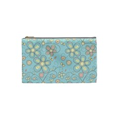 Flower Blue Butterfly Bird Yellow Floral Sexy Cosmetic Bag (small)  by Mariart