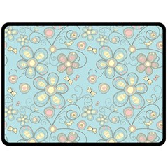Flower Blue Butterfly Bird Yellow Floral Sexy Fleece Blanket (large)  by Mariart