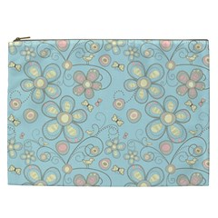 Flower Blue Butterfly Bird Yellow Floral Sexy Cosmetic Bag (xxl)  by Mariart