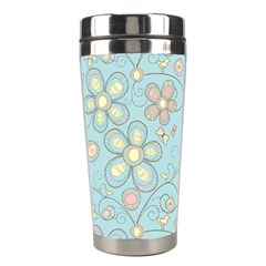Flower Blue Butterfly Bird Yellow Floral Sexy Stainless Steel Travel Tumblers by Mariart