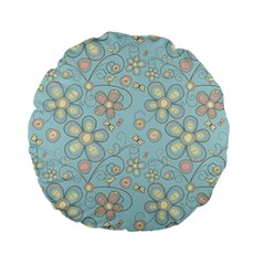 Flower Blue Butterfly Bird Yellow Floral Sexy Standard 15  Premium Flano Round Cushions by Mariart