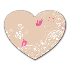 Flower Bird Love Pink Heart Valentine Animals Star Heart Mousepads by Mariart