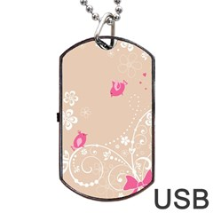 Flower Bird Love Pink Heart Valentine Animals Star Dog Tag Usb Flash (one Side) by Mariart