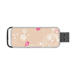 Flower Bird Love Pink Heart Valentine Animals Star Portable Usb Flash (two Sides) by Mariart