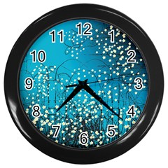 Flower Back Leaf River Blue Star Wall Clocks (black) by Mariart