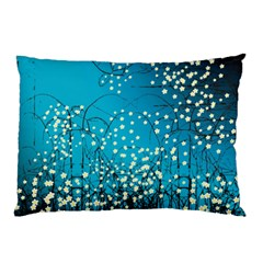 Flower Back Leaf River Blue Star Pillow Case (two Sides) by Mariart