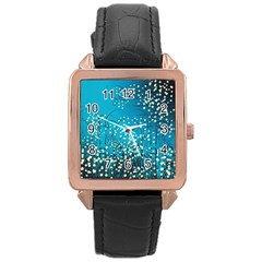 Flower Back Leaf River Blue Star Rose Gold Leather Watch  by Mariart