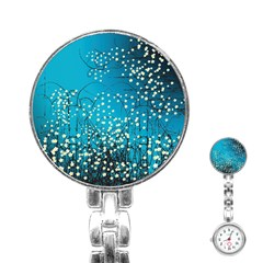 Flower Back Leaf River Blue Star Stainless Steel Nurses Watch by Mariart