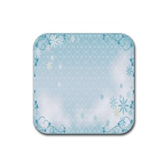 Flower Blue Polka Plaid Sexy Star Love Heart Rubber Square Coaster (4 Pack)  by Mariart