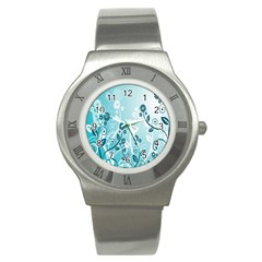 Flower Blue River Star Sunflower Stainless Steel Watch by Mariart