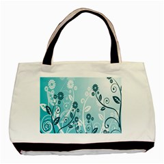 Flower Blue River Star Sunflower Basic Tote Bag by Mariart