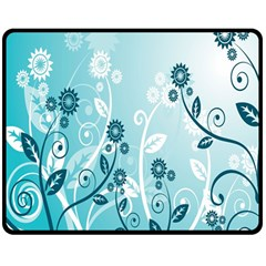 Flower Blue River Star Sunflower Double Sided Fleece Blanket (medium)  by Mariart