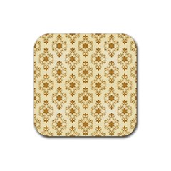 Flower Brown Star Rose Rubber Square Coaster (4 Pack)  by Mariart