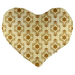 Flower Brown Star Rose Large 19  Premium Flano Heart Shape Cushions by Mariart