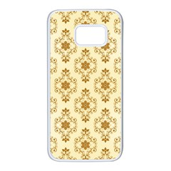 Flower Brown Star Rose Samsung Galaxy S7 White Seamless Case by Mariart