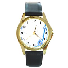 Flower Blue Sunflower Star Sexy Round Gold Metal Watch by Mariart