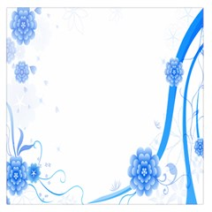 Flower Blue Sunflower Star Sexy Large Satin Scarf (square)