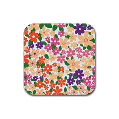 Flower Floral Rainbow Rose Rubber Square Coaster (4 Pack)  by Mariart