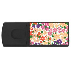 Flower Floral Rainbow Rose Rectangular Usb Flash Drive by Mariart