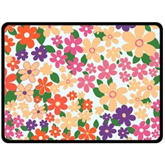 Flower Floral Rainbow Rose Double Sided Fleece Blanket (large)  by Mariart