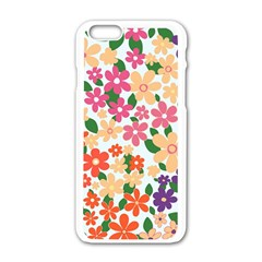 Flower Floral Rainbow Rose Apple Iphone 6/6s White Enamel Case by Mariart