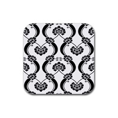 Flower Floral Black Sexy Star Black Rubber Square Coaster (4 Pack)  by Mariart