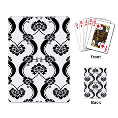 Flower Floral Black Sexy Star Black Playing Card by Mariart