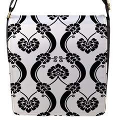 Flower Floral Black Sexy Star Black Flap Messenger Bag (s) by Mariart